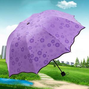 200pcs / серия 3-Сложенные пыле Anti-UV Umbrella Зонт Зонт Magic Flower Dome Солнцезащитный Портативный Зонтик