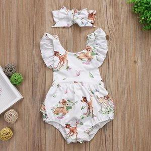 Fashion Newborn Baby Girls Toddler Infant Deer Ruffles Romper Jumpsuit Short Sleeve Summer Infant Cute Clothes Kids Outfitss8ch#