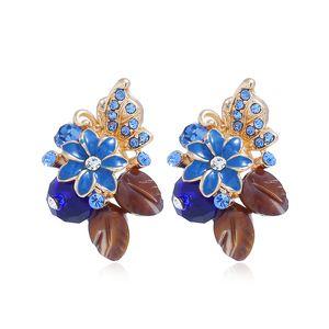 Shell Flower Crystal Pendientes temperamento femenino simple Sweet Rose Earrings Accesorios japoneses y coreanos