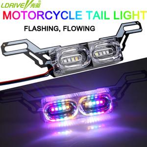 Motocicleta flash forte fluindo LED Auto Brake Light Day Running Time Luz REL Vire o lado License Plate Lamp 12V Colorul