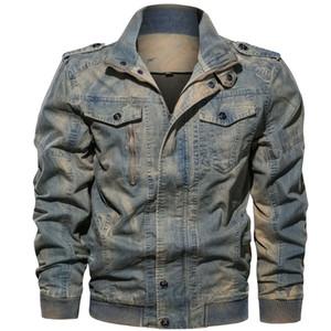Street Style Mens Designer giacche di jeans lavato casuale freddo Pockets stand Zipper manica lunga Collare Giacche Moda Uomo Cappotti