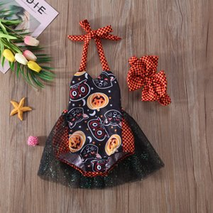 2018 Newborn Kid Baby Girl Halloween Cosplay Bodysuit Terror Backless Playsuit Costume Lace Tulle Skirt Headband Outfit Set ZX