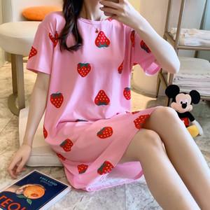 2020 senhoras nightdress bonito dos desenhos animados estudante verão serviço de casa de Mulheres fina solta de manga curta