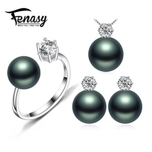 Fenasy Pearl Jewelry Brand Wedding Engagement Jewelry Sets Natural Pearl Pendant Necklace Women Orecchini Crown Ring 8-9m'm J190718