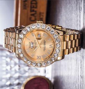 Full iced Luxury Quartz Day-Date Big diamond mens womens sport wristwatch steel band sport waterproof Relogio quartz watch lovers