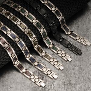 Titane pur Vinterly Bracelet magnétique Hommes Noir en fibre de carbone Charms Bracelet hommes Santé énergie Germanium Hologram Bracelets