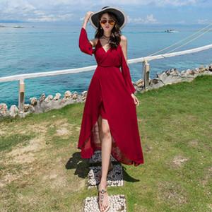 2020 Summer New Women's Seaside Holiday Sexy Slim Dress Female Elegant Camisole Off Shoulder Chiffon Long Dress