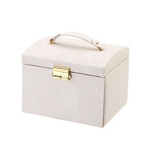 Makeup Organizer Cosmetic Storage Box PU Leather Container Multi-Function Desktop Storage Box Portable Cosmetic Case with Mirror