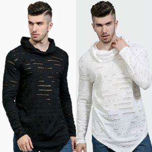 Футболки новые мужчины сломанная дыра 2018 осень повседневная пуловер с длинным рукавом верхняя одежда футболка
