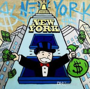 Alec Monopoly Pintado a mano de alta calidad HD Print Cartoon Graffiti Pop Art Pintura al óleo Fiesta de Nueva York sobre lienzo Multi tamaños g245