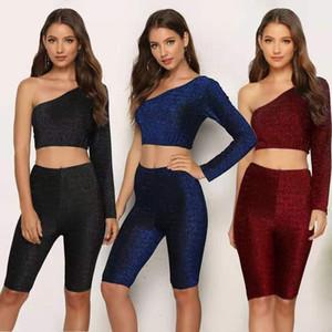 Women's sportswear Long sleeve one-shoulder sportswear set two-piece suit