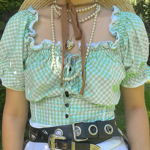 Lace Plaid Designer-T-Shirts Frauen-Sommer-reizvolle dünne trägerloser Knopf Kurzärmlig Pullover T-Shirts Art und Weise Frauen-T-Shirts
