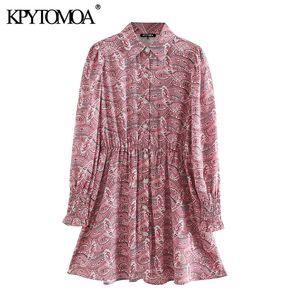 KPYTOMOA Frauen 2020 schicke Mode Paisley-Druck-Minikleid Vintage-Revers-Kragen-lange Hülsen Weibliche Kleider beiläufige Vestidos Mujer