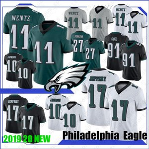 11 Carson Wentz 10 DeSean Jackson Maillots 86 Zach Ertz Jersey 20 Brian Dawkins JJ Arcega-Whiteside 17 nouveaux maillots de football Jeffery