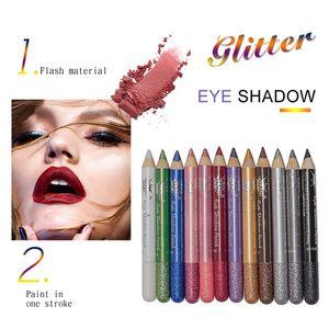 12 Colors Long Lasting Waterproof Easy To Color Eyeshadow Glitter Eye Shadow Shimmer Eyeshadow Stick Set