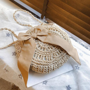 Bow Round Crossbody bag 2020 Summer New Quality Weaving Women's Handbag Hollow Shoulder Crossbody Bag Straw Beach