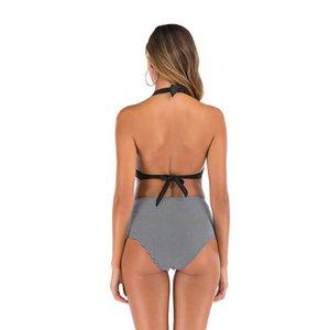Women Swimsuit Sandy Beach Summer Vest Style Broken Flowers Swimwear Bikinis Set For Outdoors Sports Swimming Equipment LJJZ399-3#587