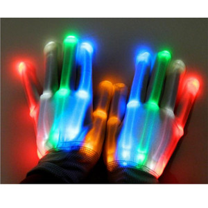 1 Paar LED Rave Flashing Glove Glühen-Licht-Finger-Beleuchtung Halloween Xmas Party-Tanz-Skelett