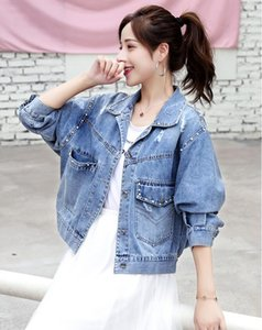 2020 Women's Long Sleeve Single-Breasted Denim Jacket New Loose Short Spring jeans Tops jacket coat Outerwear