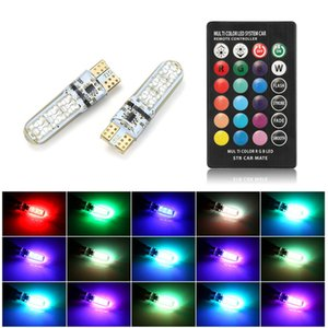 4XCar RGB LED Signal Lamp 12V T10 LED RGB 5050 6SMD Remote Controller Reading Wedge Light T10 LED Light Bulbs Atmosphere Lamps