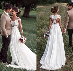 Vintage Boho Beach barato vestidos de novia de campo Cap cuello gasa escarpada Vestidos de novia sin espalda de encaje mangas Apliques