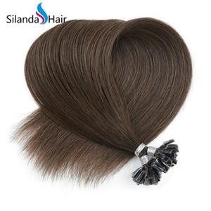 Prémio marrom # 4 de Straight Nail Remy Hair Extensions Tip Tip U Bonded Fusão extensões do cabelo 50 fios / embalar frete grátis