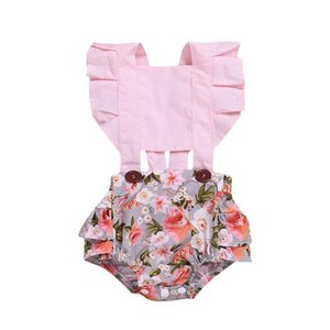 Summer kids  clothes girls Leisure Belt Fragmented Flower Triangle romper kids clothing One-piece Baby girl Clothes