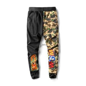 Estilo caliente de los hombres pantalones de moda de mezcla de algodón estilo Casual pantalones tiburón negro gris camuflaje pantalones envío gratis