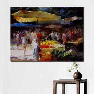 La pittura astratta della città Market Street scence nel sud di Willem Haenraets Paesaggi Arte pitture a olio dipinte a mano Home Decor