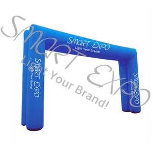 Double Inflatable Arch Door Inflatable Finish Arch Line Promotion Display Stand with Custom Printing and Base Blower W8xH3.9 M