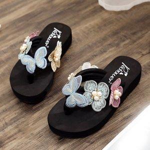 Fleur romantique Chaussons hawaïenne Femmes d'été Bohemia Style rétro Appliques Chaussures de plage précarisés bas talon plate-forme Slipper
