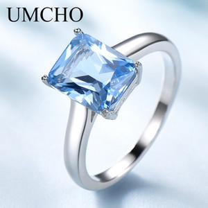 UMCHO Kadınlar Katı 925 Gümüş Düğün Nişan Güzel Takı Bölüm Hediye Yeni için Aquamarine Taş Yüzükler düzenlendi