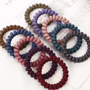 Frosted Farbige Telefon-Draht-elastische Haar-Bänder für Mädchen Kopfbedeckung Pferdeschwanz-Halter Gummibänder Frauen Haarschmuck