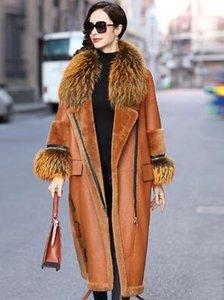 Echtpelzmantel Waschbär Hund Kragen Wolle Jacke Herbst Winter Mantel Frauen Kleidung aus Echtem Leder Jacke Schaffell Mantel BT18H09