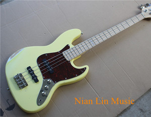 4-String Electric Bass with Cream Yellow Color Body,Maple Fingerboard,Red Pickguard,2 Single Open Pickups and can be Customized
