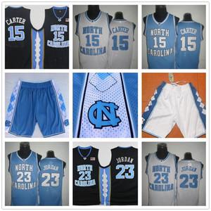 Vince Carter UNC Jersey, Caroline du Nord # 15 Vince Carter bleu blanc Cousu NCAA Basketball Maillots, short broderie Logos