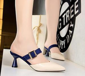Горячие Продажа-Новые женщины на высоких каблуках тапочки партия девушки способа сексуальный остроконечные обувь Танцевальная обувь свадьбы пряжки ремня сандалии женщин обувь размер 34-40