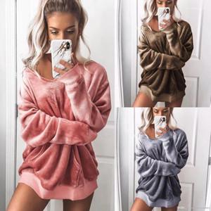 Solid Designer Collets en V-cou Sexy Sweatshirts Automne Hiver Vêtements femme velours
