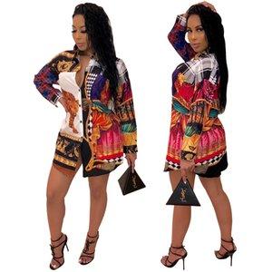 Smr9356 Platform Fiery Printing Shirt Falda de ropa policromática para mujer1