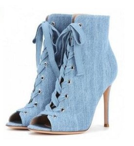 Newest Blue Denim Lace-up Ankle Boots Peep Toe Cut-out Gladiator Sandal Boots For Women Zapatillas Mujer Free Ship