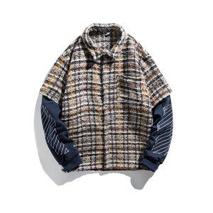 2020 Autumn New Men Printed Woolen Knitted Splice Sleeve Jacket Overcoat Male Women Streetwear Hip Hop Couple Coat