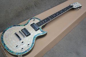 Guitare électrique blanche personnalisée avec manche en palissandre, placage de perles blanches, ligne Abalone, matériel chromé, offre personnalisée