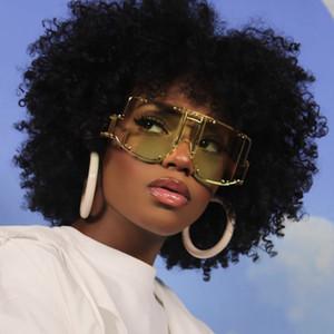 Avrupa ve Amerikan punk tarzı koruyucu ayna bayan rihanna büyük çerçeve yapışık parça kadın moda perçin sunglasses
