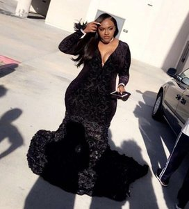 Plus Size Prom Dresses Black Mermaid Lace Plunging V Neck Long Sleeve Evening Gowns With 3D Flowers 2019