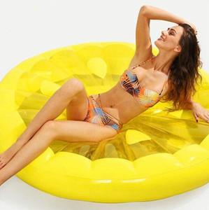 Inflável Lemon Água Toy gigante Floating Bed Raft colchão de ar Summer Holiday Swmming Anel criativos brinquedos divertidos água da piscina flutua 150 centímetros C670