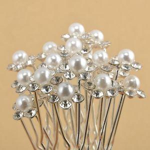 Женщины ретро Pearl Шпилька цветка способа Алмазные волос Палочки Clips Головной убор Кристалл Diamante Pearl цветок заколки для волос LT-TTA797