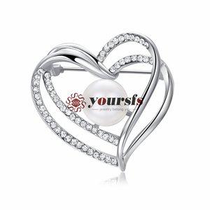 Yoursfs Elegance Pearl Brooch Jewelry for Women 18K Oro blanco plateado en forma de corazón Austrain zircon Broche para niñas como el mejor regalo o cumpleaños