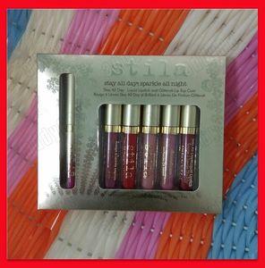 2018 lip makeup Stila 6 colors lipgloss stay all day sparkle all night liquid lipstick and glitter lip top coat 6pcs set
