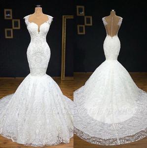 Elegante Sheer barrido con cuello redondo de vestidos de novia cordón de la sirena 2019 Tul Applique del cordón de boda del tren Vestidos de novia Vestidos de boda BC2056