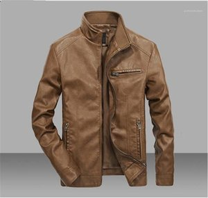 Windproof Mens Jackets Solid Color Lightweight Thick Mens Designer Jackets Long Sleeve Stand Collar Winter Coats PU Leather Motorcycle